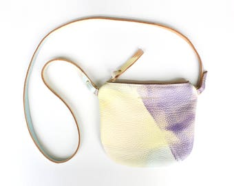 Abstract Hand Painted Crossbody Purse - - Round bottom Bag
