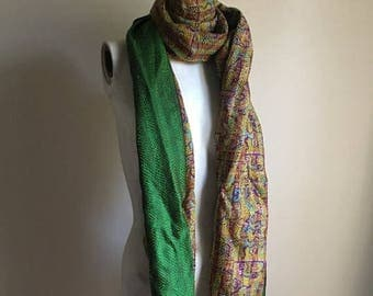 SUMMER SALE Hand Stitched Silk Long Scarf • Colorful Abstract Print Scarf • Necktie • Neck Scarf