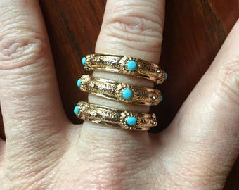 Vintage Gold Metal Costume Layered Band Ring Set  Size 5.5 to 6