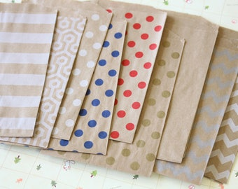 100pcs Kraft Brown paper bags Middy Bitty Bags