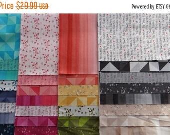Fabric 25% off SALE SPECTRUM V & Co. 30 piece sample set Moda fabric scrappy modern color palette ombre Vanessa Christenson applique