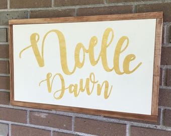 "Personalized Name Sign,Little Girl Nursery Sign,Baby's Name Sign,Baby Decor,Decorate Girls Bedroom, Stained Framed Sign,Gold Letters,22""x13"""