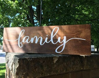 "Family, Family Sign, Stained Wood Sign, Wedding Sign, Rustic Decor Family Sign, Family Inspirational Sign Home Decor, DAWNSPAINTING,24""x7.5"""