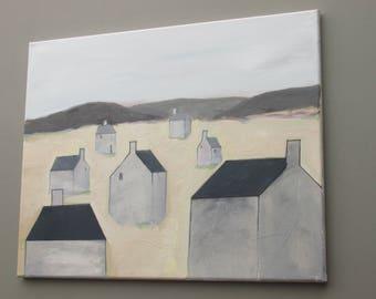 "decorative wall art - ""Ghost Village"" - original acrylic painting - home decor"