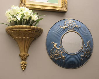 wall gallery - Grand Boho - vintage  wall art with found mirror- feng shui