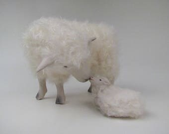 English Cotswold Sniffs Her Newborn Lamb Figurines