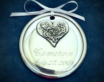 Personalized Pewter Baby Ornament, Floral Heart
