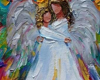 Angel Hugs painting original oil 6x6 palette knife impressionism on canvas fine art by Karen Tarlton