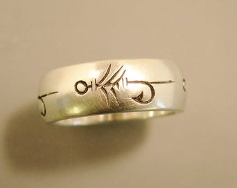 Gold fly fishing ring wedding band fishing wedding band for Trout fishing in america band