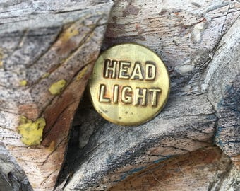 Antique Workers Button Brass Headlight Button