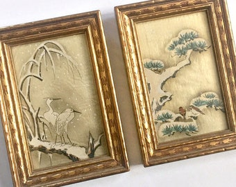 Vintage Birds on Silk, Framed Silk Bird Paintings, Asian Bird Paintings, Framed Bird Art, Egret Crane Bird Art, Vintage Japanese Bird Art,