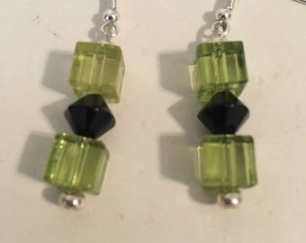 Green square and black dimond earrings