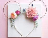 Floral boho mouse ears. Cub ears. Minnie mouse flower ears. Mouse headband. Mickey headband. Hair accessories
