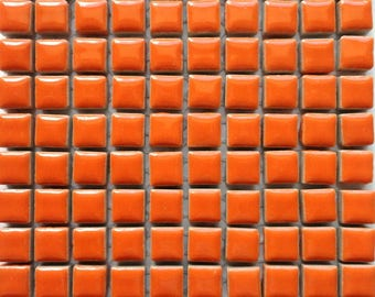100 (10mm) MINI Orange Glazed Ceramic Tiles Mosaic Supplies//Mosaic Pieces//Crafts