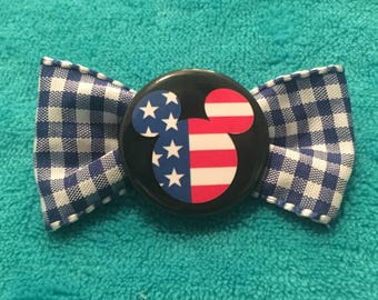 Patriotic Mickey Mouse red, white, and blue gingham hair bow clip