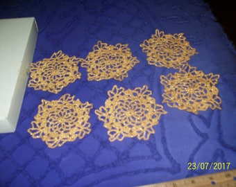 Set of six (6) lacy gold snowflakes