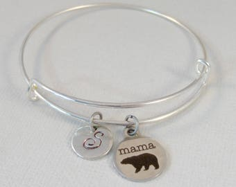 Mama Bear,Mama Bear Jewelry,mama Bear Bracelet,Bear Jewerly,Mom Jewelry,Mommy,Mother,Mom,Woodland Jewelry,Personalize valleygirldesigs