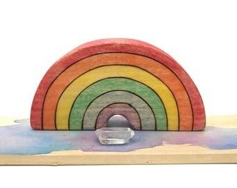 rainbow waldorf toy, wooden rainbow, wooden waldorf toy, eco friendly, rainbow figurine, vegan waldorf toy