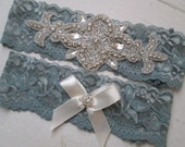 Dusty Blue Bridal Garter, Something Blue Lace Garters w/ Bling, Slate Blue Garter, Rustic- Country Bride