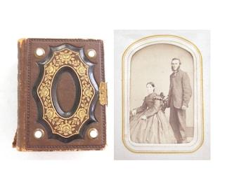Victorian Photograph Album * Civil War Era CDV Portraits * Leather Brass Clasp Bead Inlay Antique Book