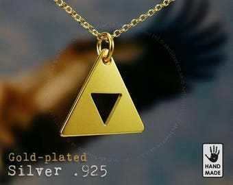 Tiny TRIFORCE Handmade Goldplated Sterling Silver .925 Necklace in a gift box