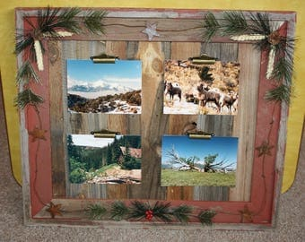 Rustic Picture Frame-Clip Board Photo Display-Collage-Barnwood Note Holder-Wood Frame Rusty Stars-Holds 4 Pictures