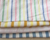 Four Vintage Bed Sheet Striped Fabric Remnants