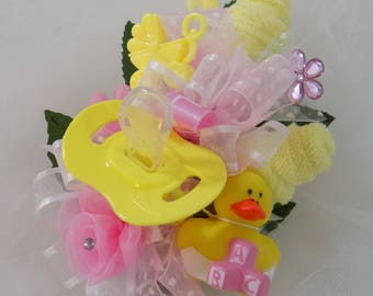 Rubber Duck Baby Shower Corsage - Pin On Baby Girl Corsage - Baby Shower Gift - Mommy Corsage - Pacifier and Washcloths