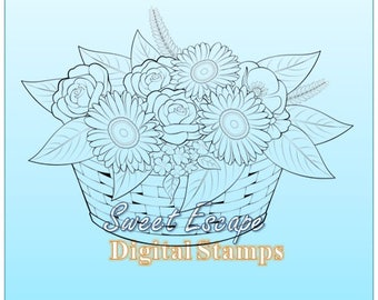 Basket with flowers Digital Stamp