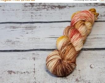 ON SALE Hand dyed worsted yarn, superwash merino, wool yarn, red, pink, orange, brown, yellow, yarn, medium,