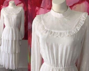 Vintage 70s Dress Sheer Ivory Prairie Hippie Boho Tiered Bridal Wedding Tokyo