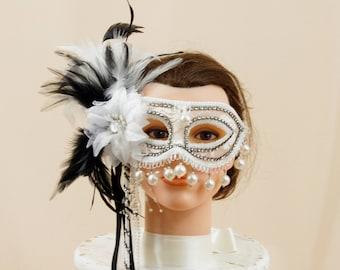 White and Black Mask, Feather Mask, Masquerade Mask, Costume Mask, Mardi Gras Mask, Halloween Mask, White Mask, Party Mask