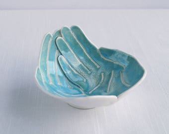 OFFERING hands bowl, small size aqua turquoise porcelain bowl, ceramic hand bowl, candle bowl, giving bowl, receiving bowl collection bowl