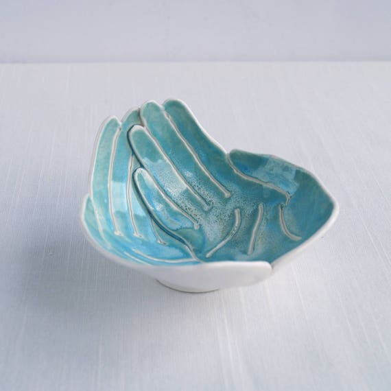 Small RECEIVING HANDS bowl, aqua turquoise porcelain bowl, ceramic hand bowl, candle bowl, giving bowl, begging bowl collection bowl