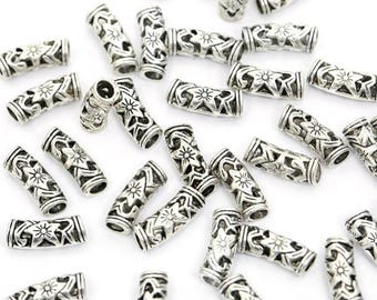 4 Flower Embellished Tube Spacer Beads 18mm - Antique Silver Finish - B004