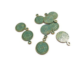 5 Round Coin Charms: Verdigris Patina Finish, coin charms for bracelets and earrings, jewelry supplies, friendship bracelets - HIC013