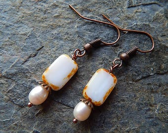 Copper and pearl earrings - czech glass dangle earrings - cream and white - freshwater pearls -  boho style - rustic - winter white jewelry