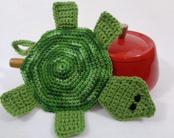 Pot Holder in Greens, Turtle Hot Pad, Tortoise Trivet for Kitchen, Hostess Gift. Turtle Collector Present, Crocheted by Charlene