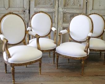 Set of Antique Giltwood Louis XVI Style Fauteuils in White Belgian Linen
