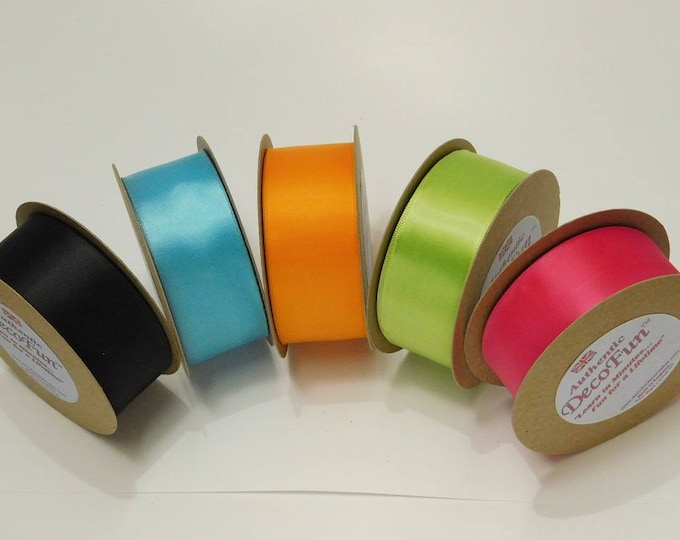 Wired Satin Ribbon, several colors, Woven Edge, Made in England 1-1/2 inch width (38 mm) woven edge 15 ft roll