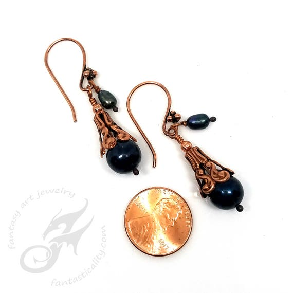 Black Cultured Pearl Earrings with Copper Plated Bead Caps on Fancy Copper Ear Wires ~ #E0959 Fantasticality by Robin Taylor Delargy
