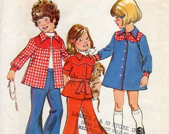 1970s Girls Western Yoke Blouse Dress or Bell Bottom Pants - Vintage Pattern Simplicity 6121 - Size 3 UNCUT FF