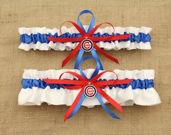 White Wedding Garter Set with Chicago Cubs Colors and Deco, Bridal Garter, Prom Garter  (Your Choice, Single or Set)
