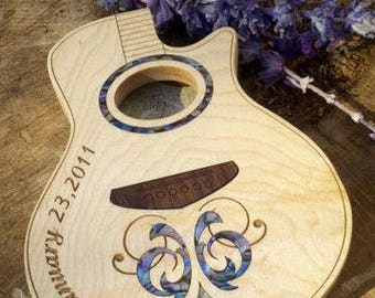 Groomsmen Gift GuitarPick Box, custom engraved inlaid wood acoustic guitar shape box