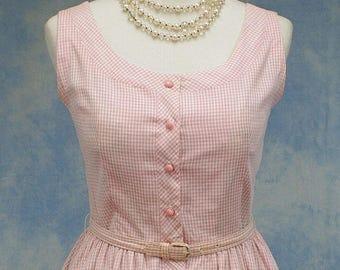 Vintage 60s Full Skirt Pink Gingham Check Sundress, Rockabilly, Size Medium 8