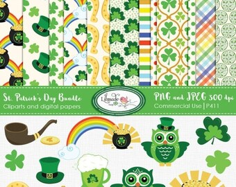 50%OFF St. Patrick's Day clipart digital paper, horseshoe, shamrock, rainbow clipart, leprechaun, clover,lucky Irish clipart, st patricks da