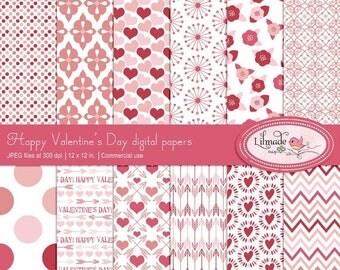 50%OFF Valentine digital paper, hearts and arrows paper, shabby rose digital papers, lace digital paper, Valentine patterns, DIY Valentine,