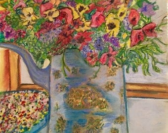 Giclee Print From Original Pastel-The Vase-Neo Impressionism-Abstract Still Life
