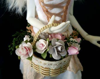 Mourning Dove Basket of flowers for MSD, Gene, Tonner, SD BJD, Pullip, Blythe