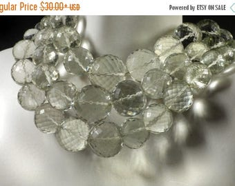 ON SALE Pale Green Amethyst Round Beads Faceted Prasiolite Rounds Earth Mined Gemstone - 3.5 or 7-Inch Strands - 8 or 16 Beads - 8 to 15mm